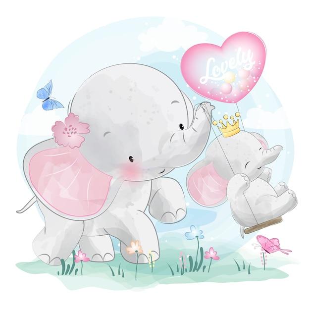 Śliczna słoń matka, dziecko i Premium Wektorów