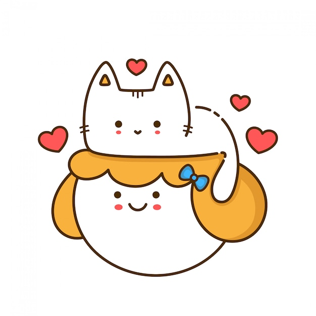 Śliczna śmieszna kota figlarka siedzi na kobiety dziewczyny głowie. zarys ikona ilustracja styl projektowania. nadruk na kartkę, koszulka. Premium Wektorów
