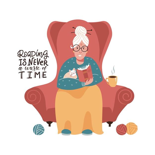 Śliczna Staruszka Siedzi W Czerwonym Fotelu I Czyta Książkę. Płaskie Ręcznie Rysowane Ilustracji Wektorowych. Czytanie Nigdy Nie Jest Stratą Czasu - Literowanie Cytatu. Premium Wektorów