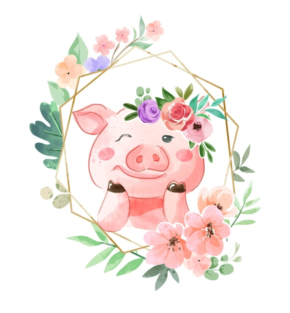 Śliczna świnia W Kwiatowy Wzór Korony I Kwiat Ramki Ilustracja Premium Wektorów