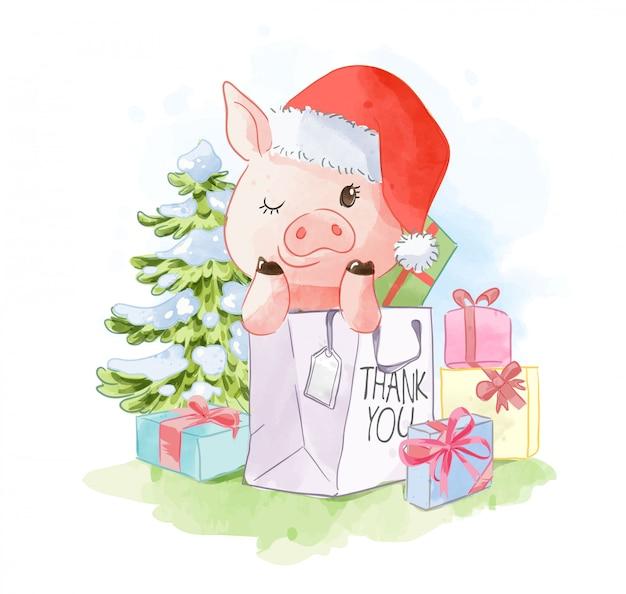 Śliczna świnia w torba na zakupy ilustraci Premium Wektorów