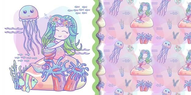 Śliczna Syrenka Z Małą Rybią Wektorową Ilustracją Dla Dzieciak Grafiki Premium Wektorów