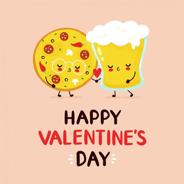 Śliczna Szczęśliwa Pizza I Piwnego Szkła Para. Premium Wektorów