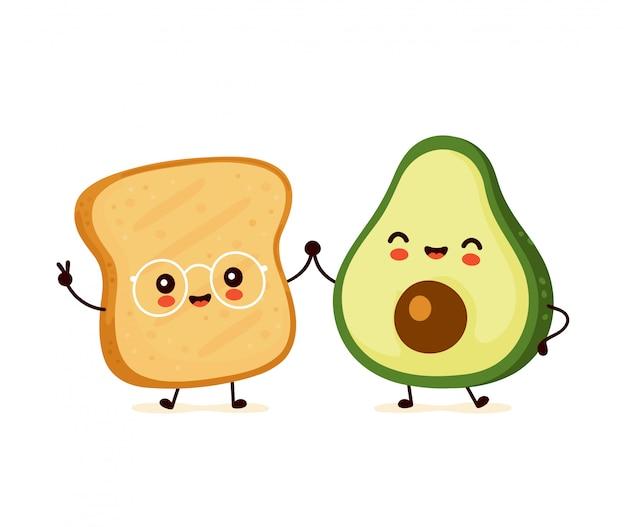 Śliczna Szczęśliwa śmieszna Grzanka I Avocado. Postać Z Kreskówki Ilustracyjny Ikona Projekt. Pojedynczy Białe Tło Premium Wektorów