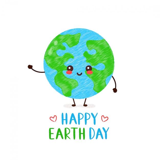 Śliczna Szczęśliwa Uśmiechnięta Kawaii Ziemska Planeta. Szczęśliwa Karta Dzień Ziemi. Desgin Rysunek Ilustracja Styl Karty. Pojedynczo Na Białym. Wiosna, Dzień Ziemi, Las, Zielone, Ekologia Premium Wektorów