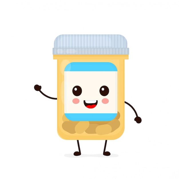 Śliczna Szczęśliwa Uśmiechnięta Medycyny Pigułki Kapsuły Butelka. Ikona Ilustracja Kreskówka Płaski Charakter. Pojedynczo Na Białym. Tabletki, Pigułki, Antybiotyki W Kapsułkach, Opieka Zdrowotna, Lek, Medycyna Premium Wektorów