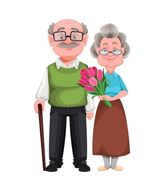 Śliczna Uśmiechnięta Stara Kobieta I Przystojny Mężczyzna W Wieku Premium Wektorów