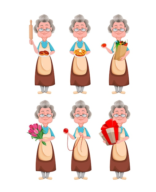 Śliczna Uśmiechnięta Stara Kobieta. Postać Z Kreskówki Wesoła Babcia Premium Wektorów