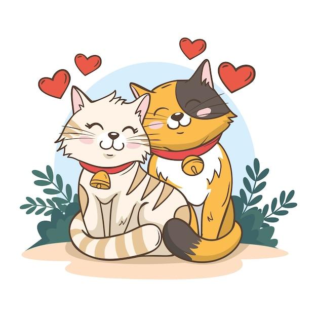 Śliczna Walentynkowa Para Zwierząt Z Kotami Darmowych Wektorów