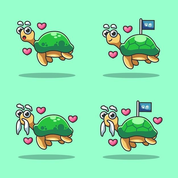 Śliczna żółw Kreskówka W Morzu świętuje światowego Oceanu Dzień Premium Wektorów