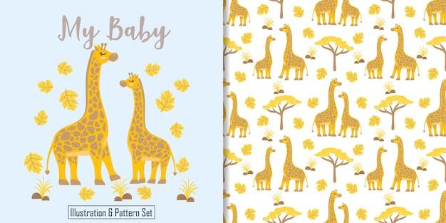Śliczna żyrafa urodzinowej karty ręka rysujący bezszwowy wzór Premium Wektorów