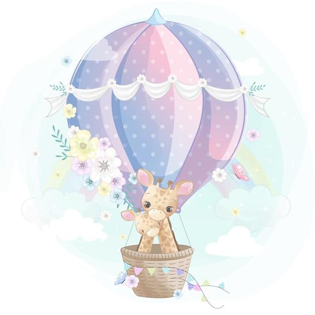 Śliczna żyrafy matka i dziecko lata z lotniczym balonem Premium Wektorów