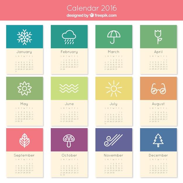 Śliczne 2016 Kalendarz Darmowych Wektorów