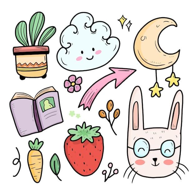 Śliczne Abstrakcyjne Kolorowe Dzieci Doodle Z Królikiem I Księżycem Premium Wektorów