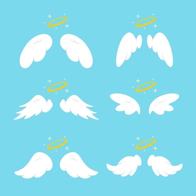 Śliczne Anielskie Skrzydła Z Aureolą. Wektor Kreskówka Płaskie Clipartów Zestaw Na Białym Tle Premium Wektorów