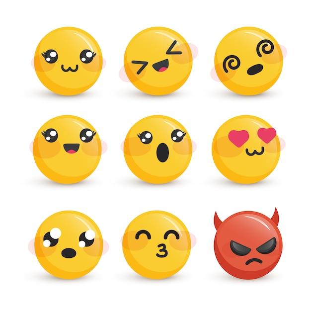 Śliczne Buźki Z Zestawem Różnych Emocji Premium Wektorów