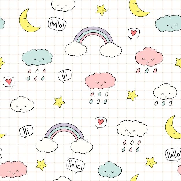 Śliczne chmury i gwiazdy kreskówka doodle wzór Premium Wektorów