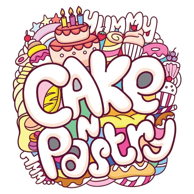 Śliczne ciasta i ciasta doodle tło Premium Wektorów