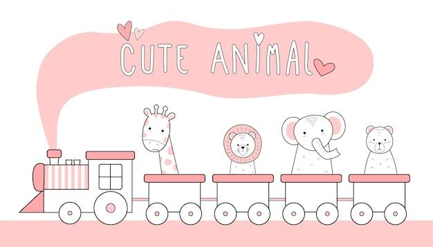Śliczne cienka linia zwierząt kreskówka doodle pastel Premium Wektorów