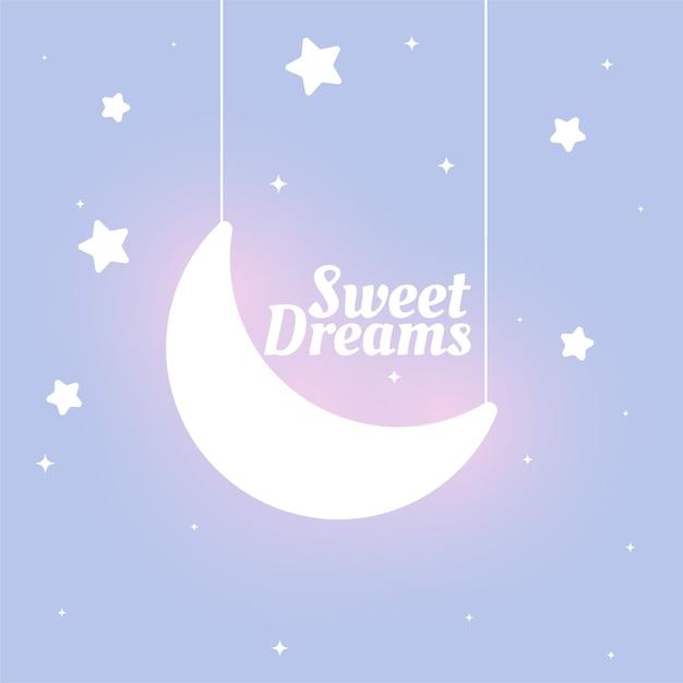 Śliczne Dzieci Stylizują Słodkie Sny Księżyc I Gwiazdy W Tle Darmowych Wektorów
