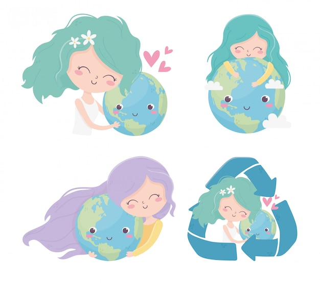 Śliczne Dziewczyny Na Całym świecie Recyklingu Miłości Serca środowiska Ekologii Premium Wektorów