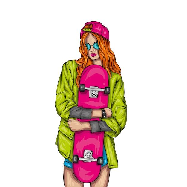 Śliczne Dziewczyny W Bluzkach I Szortach Z Deskorolką. Ilustracja. Premium Wektorów