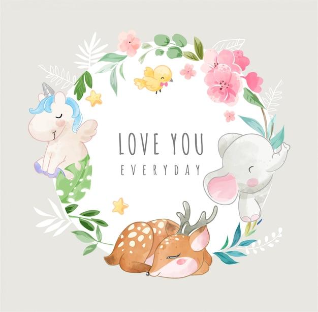 Śliczne Dzikie Zwierzęta I Kolorowe Kwiaty W Ilustracji Ramki Koło Premium Wektorów