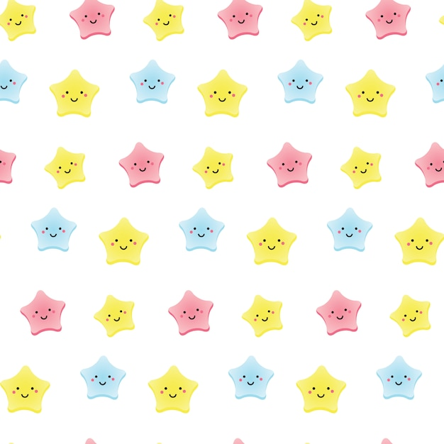 Śliczne Gwiazdki Kawaii. Tło Dla Dzieci, Niemowląt I Dzieci Z Uśmiechem Znaków Nieba. Premium Wektorów