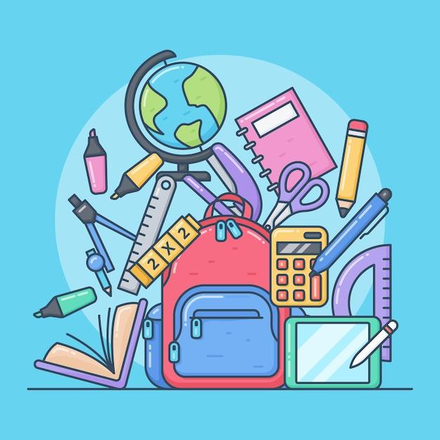 Śliczne ilustracje przyborów szkolnych Premium Wektorów