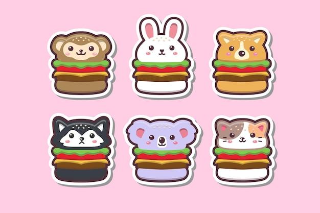 Śliczne Kawaii Animal Burger Rysunek Naklejka Zestaw Ilustracji Premium Wektorów