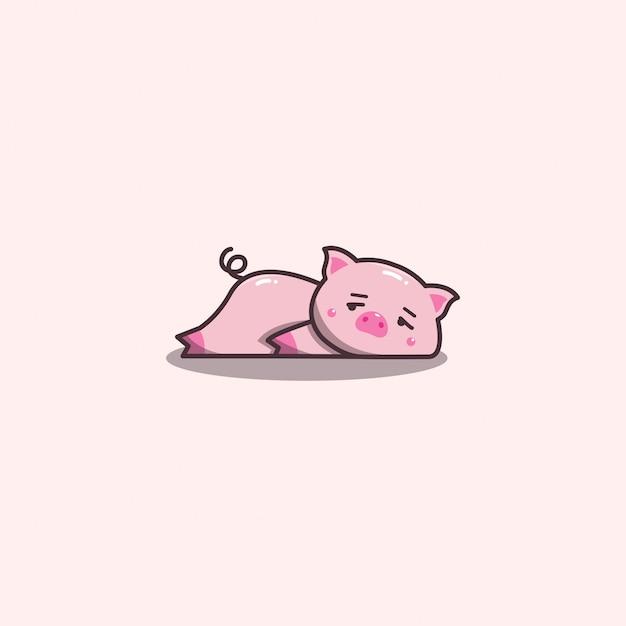 Śliczne Kawaii Ręcznie Rysowane Doddle Leniwy I Znudzony Maskotka świnia. Premium Wektorów