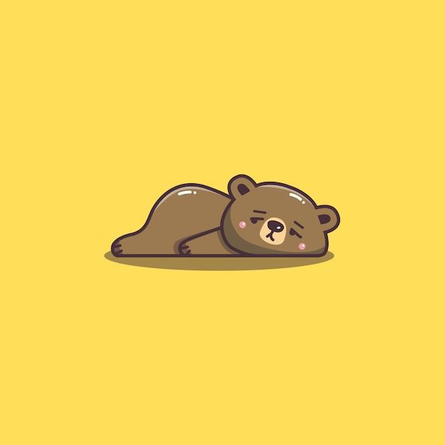 Śliczne Kawaii Ręcznie Rysowane Doddle Leniwy I Znudzony Niedźwiedź Maskotka Premium Wektorów