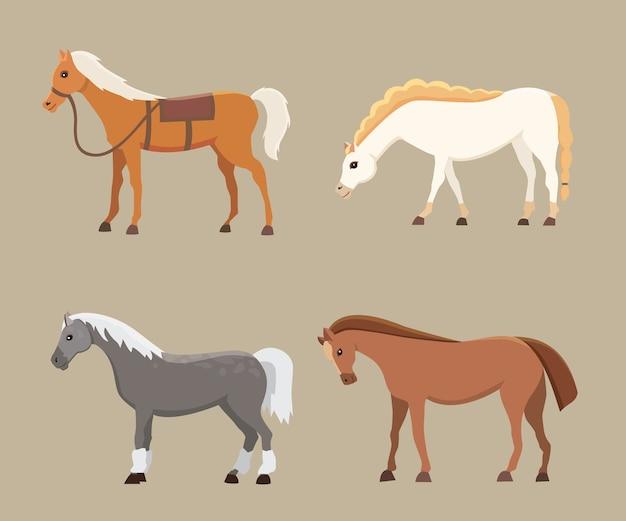 Śliczne Konie W Różnych Pozach. Kreskówka Dzikich Koni Na Białym Tle Gospodarstwa I Inna Sylwetka Kucyka Premium Wektorów
