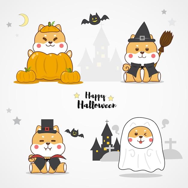 Śliczne kostiumy halloween dla psa shiba inu Premium Wektorów