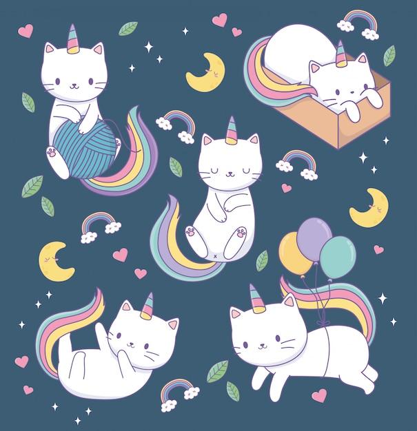 Śliczne koty z tęczowymi ogonami kawaii znaków Premium Wektorów
