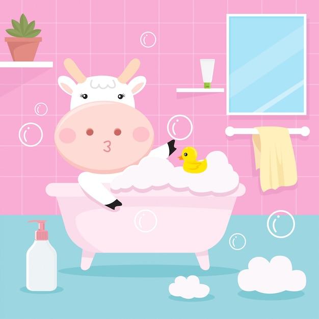 Śliczne krowy kąpiel w wannie Premium Wektorów