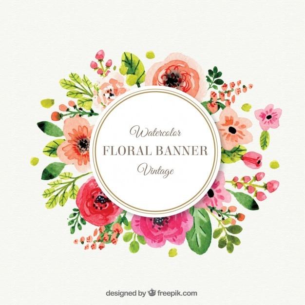 Śliczne kwiaty ramki w stylu vintage Darmowych Wektorów
