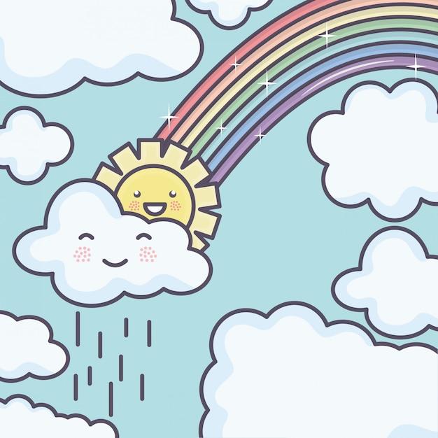 Śliczne letnie słońce i chmury deszczowe z tęczowymi postaciami kawaii Darmowych Wektorów