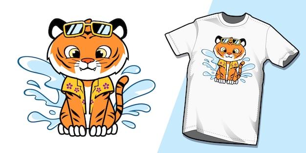 Śliczne Letnie Wakacje Tygrysa W Projektach Koszulek Plażowych Premium Wektorów