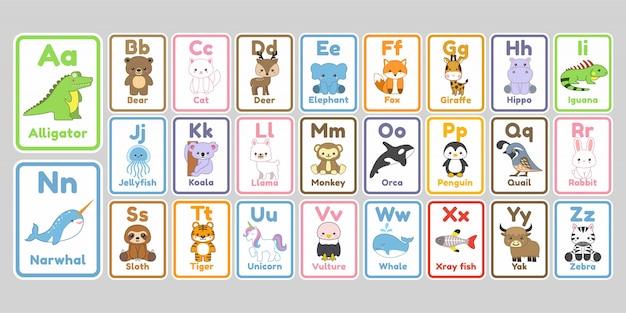 Śliczne Litery Alfabetu Kawaii Zwierzęta Dla Dzieci Premium Wektorów