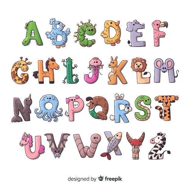 Śliczne litery z kształtów zwierząt Darmowych Wektorów