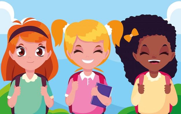 Śliczne małe postacie dziewcząt studentów avatar Premium Wektorów