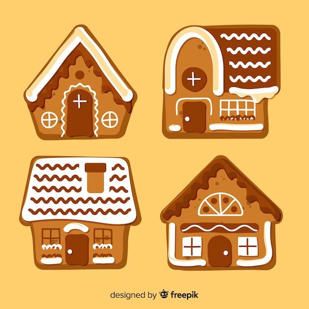 Śliczne paczki z domkami z piernika Darmowych Wektorów