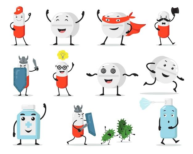 Śliczne Pigułki I Tabletki Płaski Zestaw Ilustracji. Cartoon Znaków Medycznych Walczących Z Wirusami Na Białym Tle Kolekcja Ilustracji Wektorowych. Koncepcja Medycyny I Maskotki Darmowych Wektorów