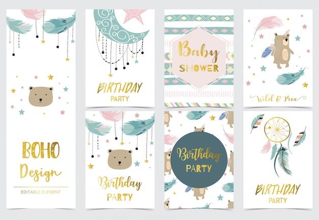 Śliczne pocztówki dla dzieci z łapaczem snów Premium Wektorów