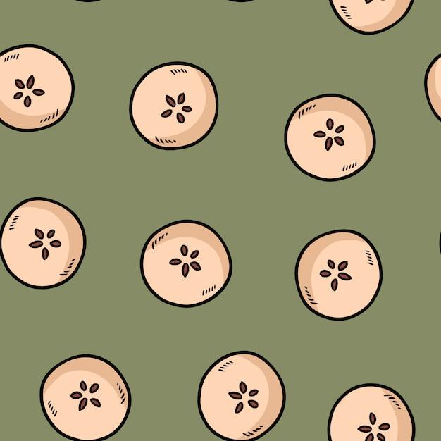 Śliczne pokroić w pół jabłka naturalnie rysowane tapeta wzór tło dekoracji stylu kreskówki Premium Wektorów