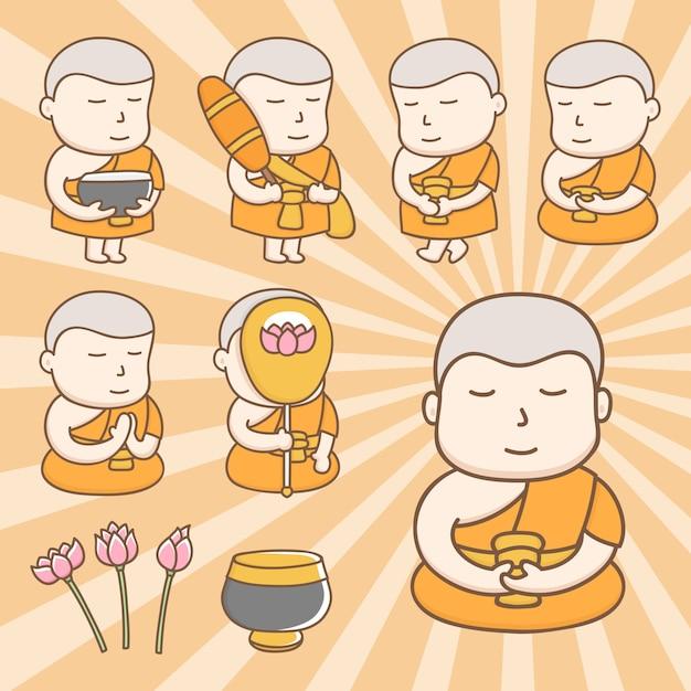 Śliczne postacie z kreskówek mnicha buddyjskiego w akcjach codziennego życia Premium Wektorów