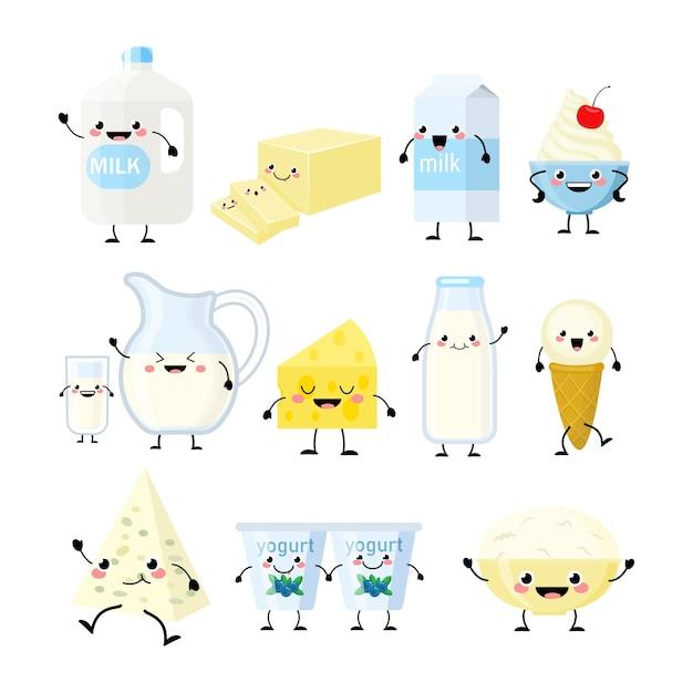 Śliczne Produkty Mleczne Kreskówka Ilustracja Na Białym Tle Znaków. Produkty Mleczne Kawaii Premium Wektorów