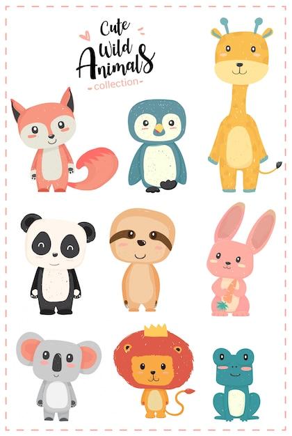 Śliczne przedszkole dzikie zwierzę pastel ręcznie rysowane kolekcja pingwin, żyrafa, panda, lenistwo, królik, koala, lew, żaba Premium Wektorów