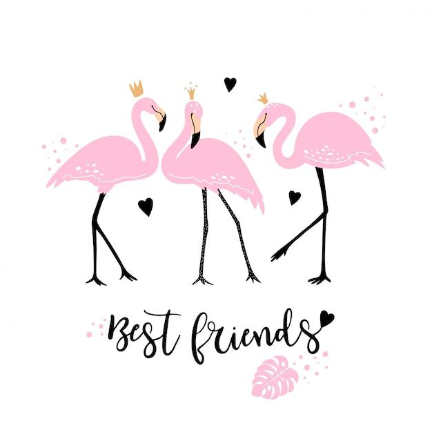Śliczne różowe flamingi Premium Wektorów